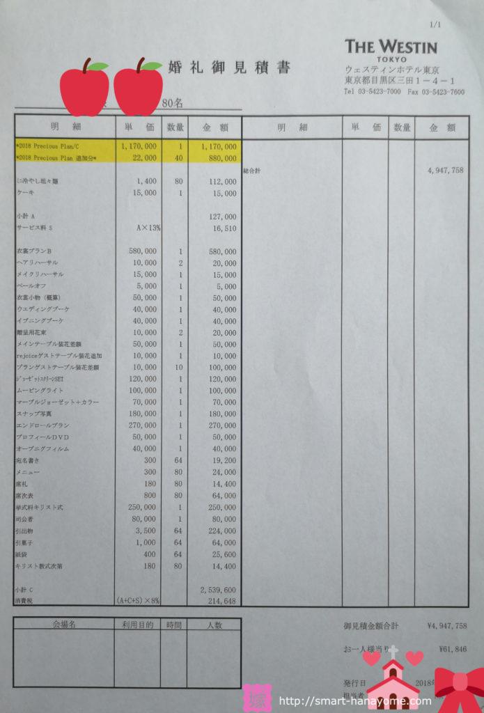 ウェスティンホテル東京結婚式見積書値引き前